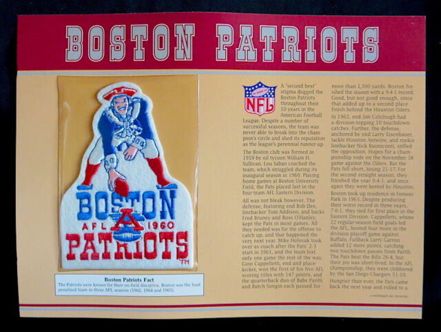 BOSTON PATRIOTS Willabee Ward NFL GOLDEN AGE Pre New England FOOTBALL PATCH CARD