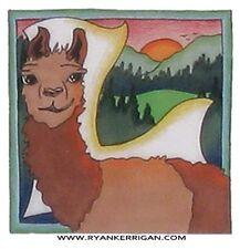 "phish alPHabet MAGNETS 2""x2"" letter L for llama  ( by KERRIGAN )"