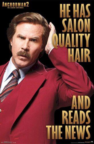 ANCHORMAN 2 MOVIE POSTER ~ SALON HAIR 22x34 Will Ferrell Legend Ron Burgundy