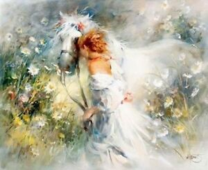 ZWPT143-large-modern-100-hand-painted-girl-horse-art-oil-painting-on-Canvas