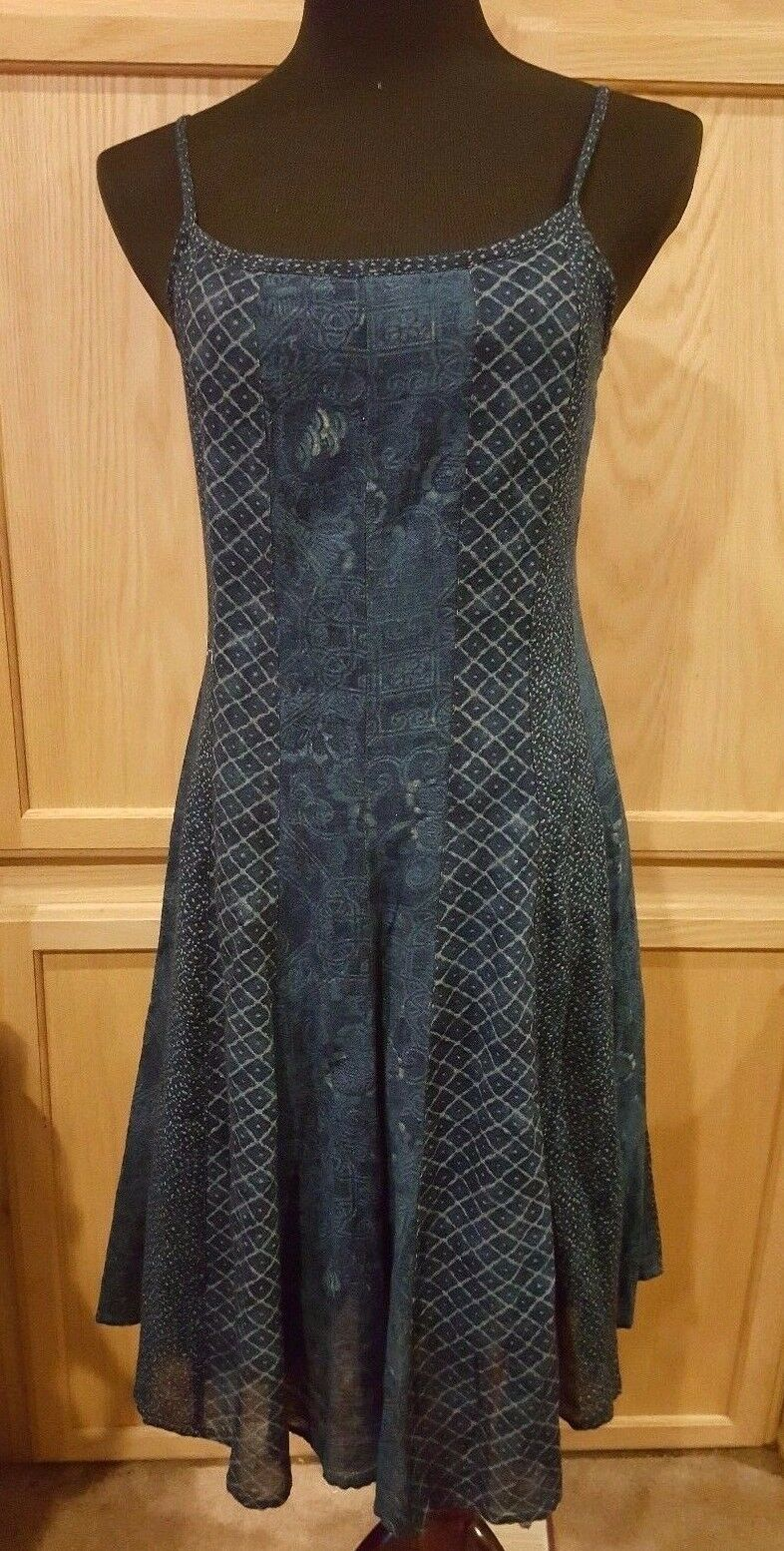 Ralph Lauren Indigo-Multi Gauze Cotton Fit & Flare Boho Dress - MSRP