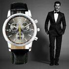 Мужские Модные часы Fashion Men's Date Sport Watch Leather Analog Wrist Watch
