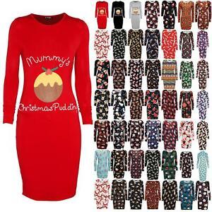 Ladies Maternity Mummy/'s Christmas Pudding Bandage Bodycon Women Xmas Midi Dress