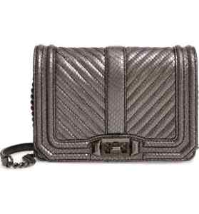 NWT $195 REBECCA MINKOFF LEATHER PUTTY CHEVRON QUILTED  SMALL LOVE CROSSBODY