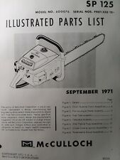 Mcculloch Chain Saw Sp 125 600076 Parts Manual 2 Cycle Gas Chainsaw 1971