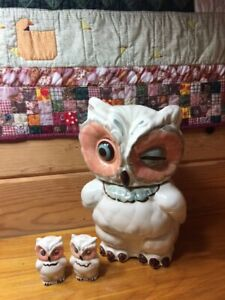 Vintage Shawnee Winking Owl cookie jar with matching salt and pepper shakers