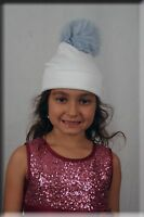 White Infant Beanie Baby Blue Fox Fur Pom Pom For Ages 0 To 2 Efurs4less