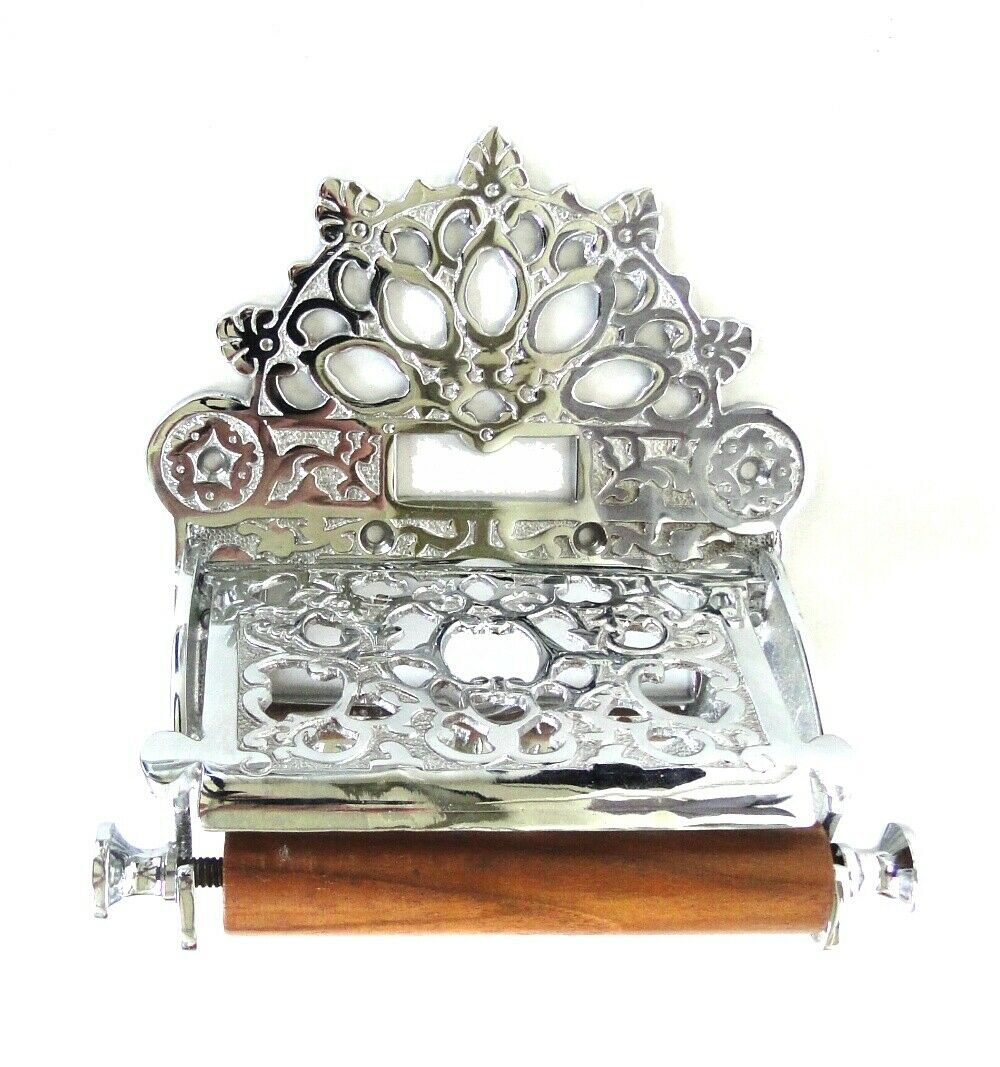 Chrome Wall Toilet Paper Holder with Fan English Crown Top Vintage Style
