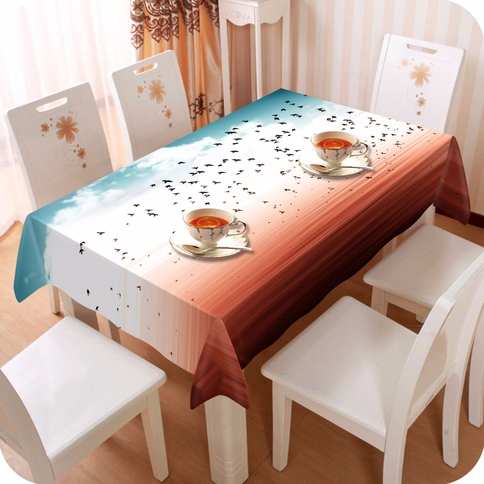 3D Birds Fly Nappe Table Cover Cloth fête d'anniversaire AJ papier peint Royaume-Uni Citron