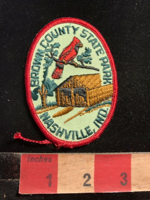 Vtg NASHVILLE INDIANA BROWN COUNTY STATE PARK Patch Cardinal Covered Bridge 95Y4