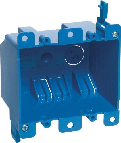 H Rectangle  2 Gang  Outlet Box  Blue  PVC Carlon  3-15//16 in