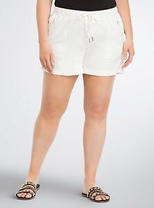df30d034ca0da Image is loading HG004-TORRID-White-Linen-Rayon-Lightweight-SHORTS-Plus-
