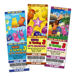 Detalles De Los Backyardigans Fiesta De Cumpleaños Invitación Billete 1 Personalizable Tarjeta C2 Ver Título Original