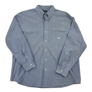Chaps-Easy-Care-Mens-Blue-Plaid-Long-Sleeve-Button-Down-Shirt-Size-XL