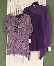New 3X 22W 24W INC Sweater & Rafael Top Denim 24/7 Sharkbite 1X Open Cardigan