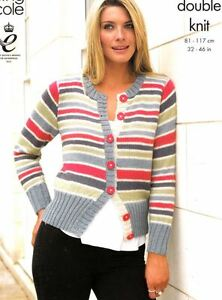 6696e70c0 Knitting Pattern Women s Jumper   Cardigan Fashionable Stripes Easy ...