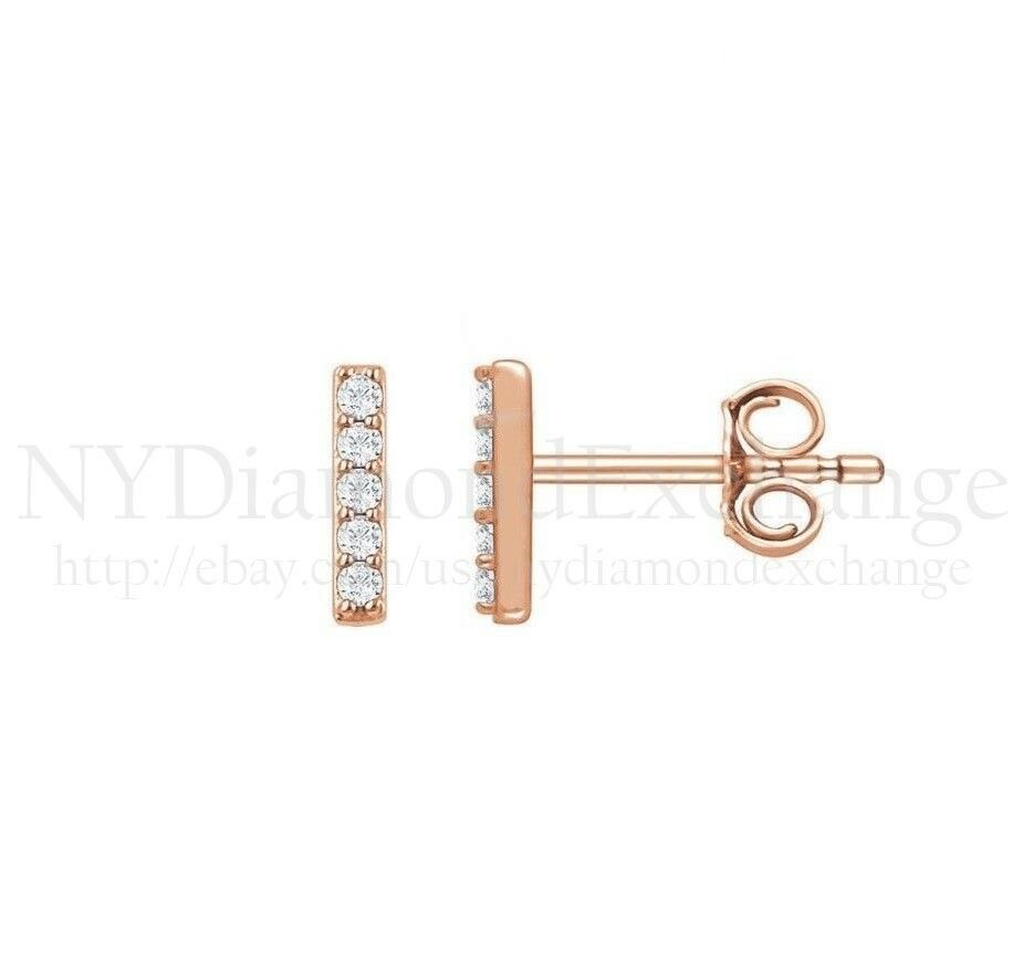 0.15CT Brilliant Round Cut Created Diamond Bar Earrings 14K pink gold Mini Studs