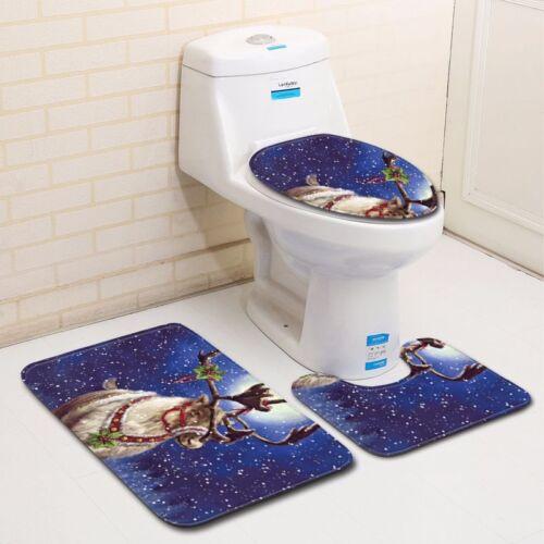 3 Piece Merry Christmas Bath Floor Mat Set Non-Slip Bathroom Rugs Toilet Cover