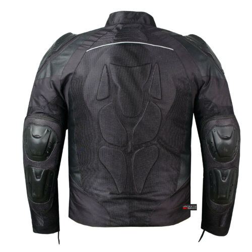 PRO LEATHER /& MESH MOTORCYCLE WATERPROOF JACKET BLACK WITH EXTERNAL ARMOR
