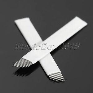 Microblading Needles Permanent Eyebrow Makeup Manual Tattoo Bevel Blade 12 Pin