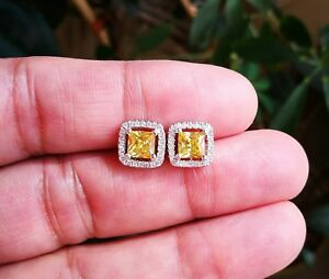 2-Ct-Princess-Cut-Earrings-Yellow-Diamond-Stud-Earrings-14K-White-Gold