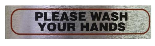"""/""""veuillez vous laver les mains/"""" information signe qualité métal brossé autocollante"""
