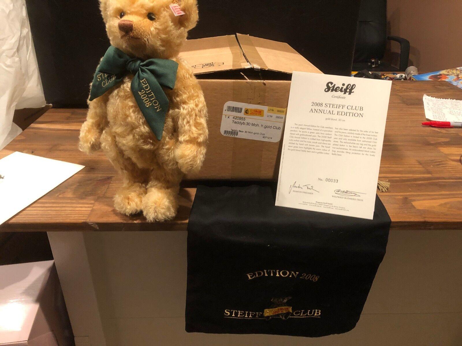 Steiff 420955 Teddy Bear Golden Blonde  Auf Stand Steiff Club Edition 12