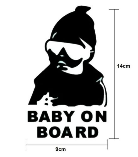 Baby On Board reflective White Black sticker Child Children Decal Window Bumper