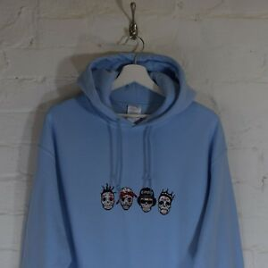 Details about RIP Day of the Dead Rappers ODB,Tupac,Easy E,BIG, Sky Blue  Hoodie by Actual Fact
