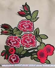 LARGE PRETTY FLOWER PEONY ROSE FASHION JACKET IRON ON SEW ON EMBROIDERED PATCH