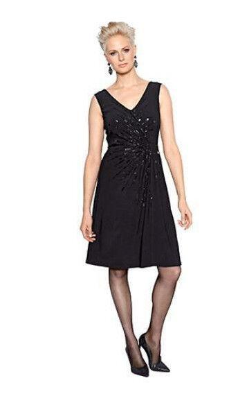 AMY VERMONT Kleid mit Wickeleffekt Gr.44  mit dekorativen Dekoperlen schwarz Neu