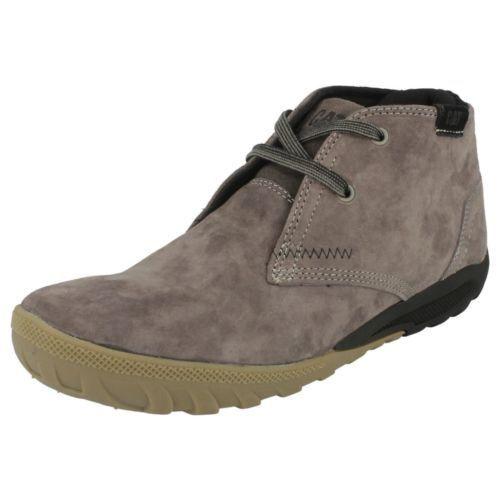 Caterpillar /'Crump Mid/' Men/'s Dark Grey Lace Up Suede Hi Rise Shoes.