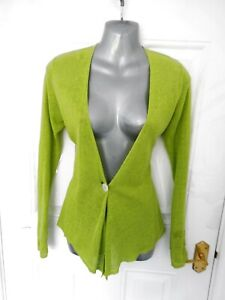 EAST-Size-8-Green-Button-Fasten-Cardigan-Top-100-Linen-Lagenlook-Ethnic-Boho