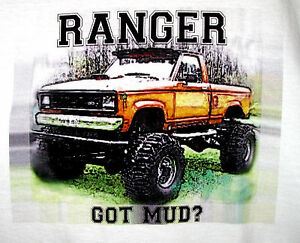 Mud Truck T Shirt 4x4 Offroad Lifted FORD RANGER Bogger White Tee