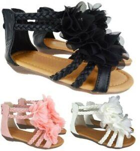 Details zu Kinder Mädchen Flach Sommer Mode Strand Kleinkinder Blume Sandalen Schuhe Größe