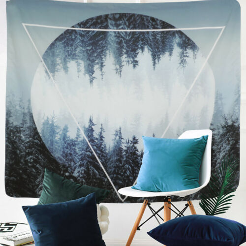 Snow Forest Sunset Tapestry Wall Hanging Psychedelic Tapestries Bedroom Decor
