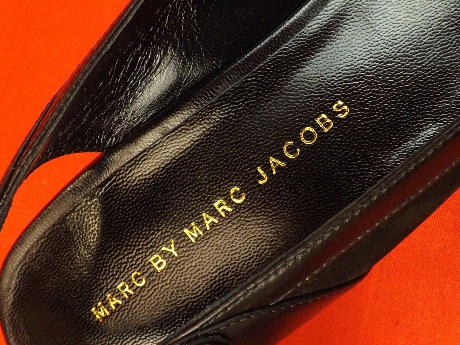 NIB MARC BY MARC JACOBS BLACK BLACK JACOBS SUEDE LEATHER PLATFORM WEDGE SLINGBACK SANDALS 37 f7db24