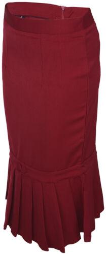 Küstenluder ALYSA Pin Up Retro 40s PLEATED Pencil Skirt ROCK Rot Rockabilly