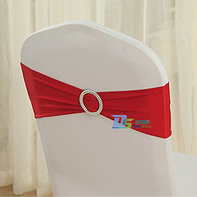 Elastic Wedding Chair Cover Sashes Silver Slider Buckle Bow Banquet Decoration