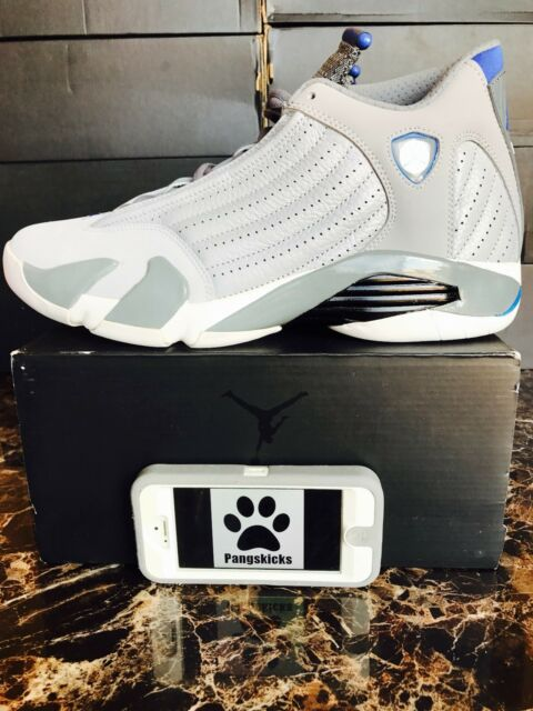 Nike Air Jordan 14 Retro Wolf Grey Blue Shoes Mens SNEAKERS Sz 15 ... 18f1dd4277