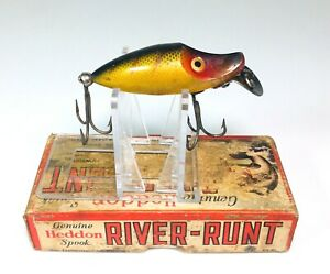 Heddon-River-Runt-Midget-Fishing-Lure-Box-9409GW-Vintage-Gold-Black-Red