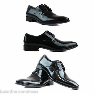 ZASEL-MENS-BLACK-LEATHER-PATENT-LACE-WORK-MEN-039-S-FORMAL-CASUAL-WORK-DRESS-SHOES