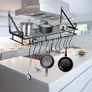 Details About Kitchen Wall Mounted Pot Pan Rack Holder Cookware Storage  Shelf Hanger W/ Hooks