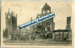 AK-Lyck-Elk-Ostpreussen-Zerstoerte-Haeuser-am-Marktplatz-1915