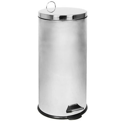 30 Litre Pedal Bin Waste Rubbish Kitchen Office Stainless Steel By Home Discount