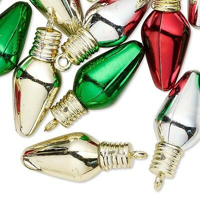 Lot of 20 Big 1 inch Assorted Color Plastic Christmas Light Bulb Ornament Charms