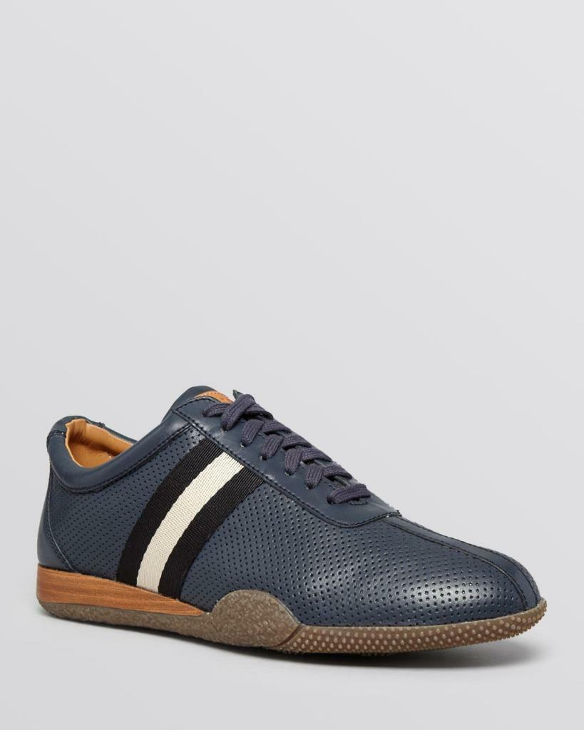Bally Frenz Men's Perforated Leather Sneaker shoes, Navy bluee, Size 7.5