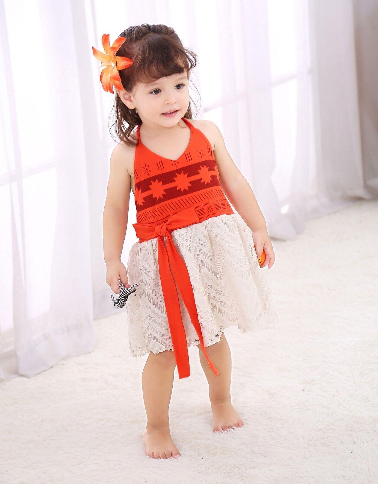 Princess Moana Costume Girls Kids Dress Cosplay Party Birthday Dresses