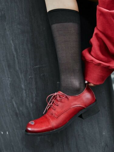 Details about  /Retro Women Real Leather Ripped Oxford Brogue Shoes Low Heel Lace Up Pumps Wen99