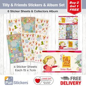 6 Sheets Tilly /& Friends Stickers Each sheet 14 x 7cm with Sticker Album